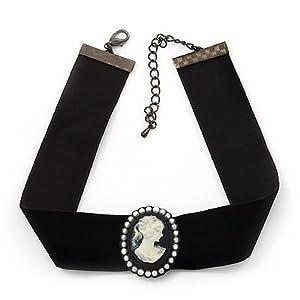 Black Velour Ribbon Pearl 'Cameo' Choker Necklace - 30cm Length & 8cm Extension