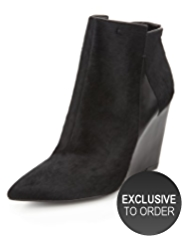 Autograph Ponyskin Pointed Toe Wedge Ankle Boots with Insolia®