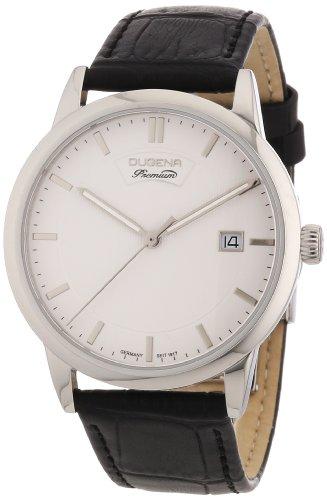 Dugena 7000089 - Reloj analógico de cuarzo para hombre con correa de piel, color negro