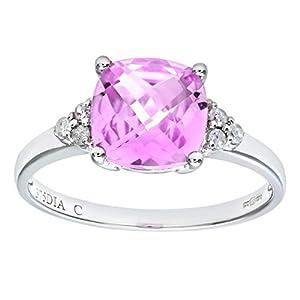 Bague Femme - Or blanc (9 cts) 1.5 Gr - Diamant et Saphir de synthèse 0.013 Cts - T 56.5 - PR07207W-P