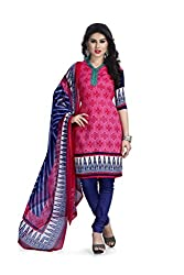 Vaamsi Women's Faux Cotton Salwar Suit Dress Material(Deep1048_Pink_Free Size)