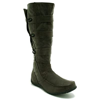 New Womens Adjustable Calf Toggle Knee High Flat Boots Sz 3-8