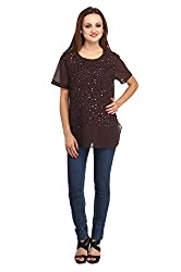 Fashionite Poly Georgette Brown Top For Women Size-XL