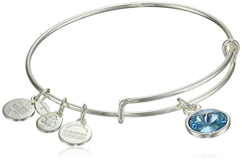 "Alex and Ani ""Bangle Bar"" March Birthstone Shiny-Silver Expandable Bracelet"