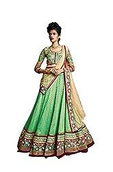 Indian styles green,jacqurd lehenga