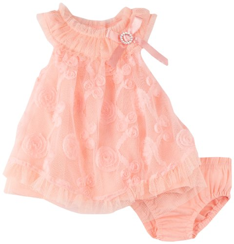 Nannette Baby-girls Newborn 2 Pieces Ruffle Knit Dress And Panty, Guava, 6-9 Months