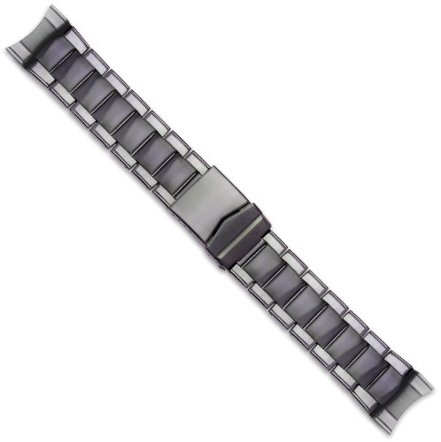 Oyster Style Link Metal Watch Band - PVD Black - 26mm