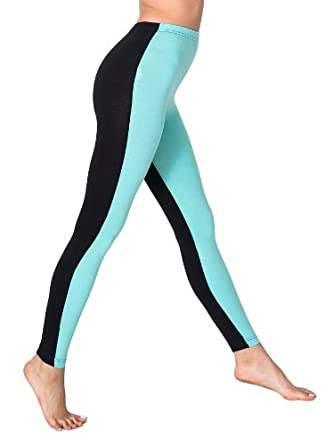 American Apparel Cotton Spandex Jersey Two-Sided Leggings - Black / Light Aqua / XS