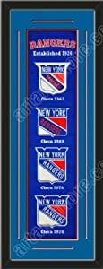 Heritage Banner Of New York Rangers With Team Color Double Matting-Framed Awesome... by Art and More, Davenport, IA