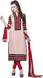 VM Trendz Women's Chanderi Cotton Semi-Stitched Salwar Suit (VMT-JL34, Beige & Wine Red)
