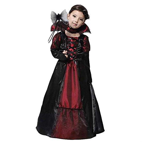 (ハイハート)Hiheart ハロウィン 衣装 コスプレ 子供 吸血鬼 仮装 キッズコスチューム パーティー 3点セット L:120-130cm