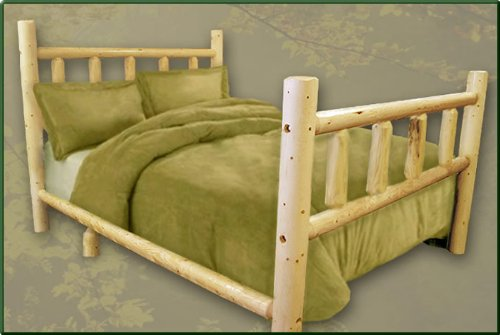 queen size pine log bed