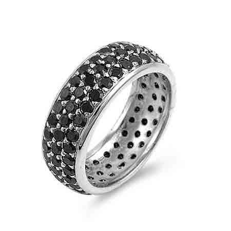Sterling Silver Pave Set Black CZ Eternity Ring Size 6