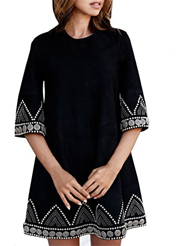Women's Black Embroidered Shift Dress (M, Black)