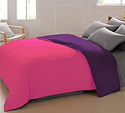AURAVE Reversible Style Solid Plain Pink & Purple Mercerised Cotton Duvet Cover/ Quilt Cover - Double Size (Gift Wrapped)
