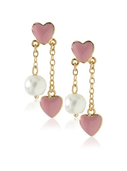 Frida Girl Gold & Pink Double Heart and Pearl Dangle Earrings