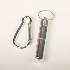Portable aluminum toothpick holder travel storage box pill case with keychain - Portable toothpick holder ...