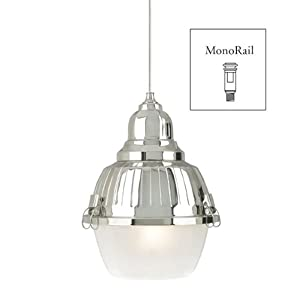 Wilmette Lighting 600MOMCLYBFN-LED Mini Clybourn 1LT 12-Volt LED MonoRail Pendant, Polished Nickel Finish with Frost Glass
