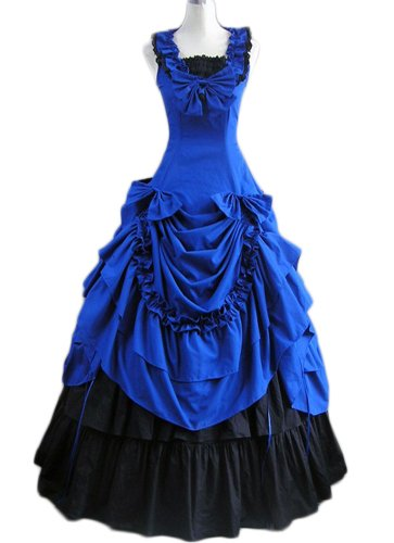 Gothic Lolita Rococo Victorian Blue Ruffled Cotton Long Sleeveless Dress (Medium)