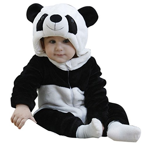 GENERIC Newborn Baby One-pieces Flannel Black Panda Hooded Bodies Romper