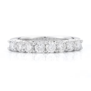 1.00ct Prong set band made in 14K white gold (I1-I2 Clarity, I-J Color) - Ring size 4