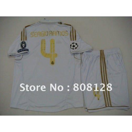 #4 sergio ramos uniforms real madrid champions league jerseys home white uefa soccer football 11 12