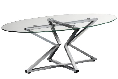 Premier Housewares Coffee Table Oval Shaped with Clear Tempered Glass Top and Chrome Frame, 42 x 120 x 60 cm