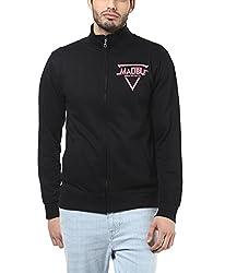 American Crew Men's Solid Full Sleeves Black & Pink Zipper Jacket With Print -XL (ACJK21A-XL)