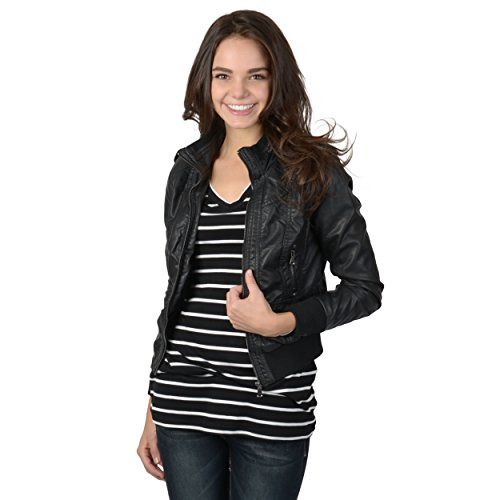 Brinley Co Juniors Lined Faux Leather Jacket