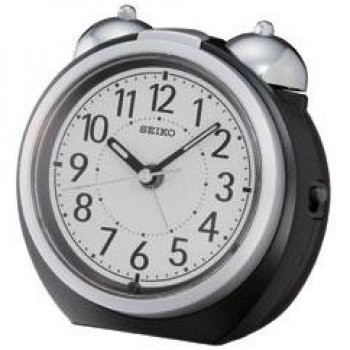 Seiko Alarm Clock (10.5 cm x 11.2 cm x 9.2 cm, Black,QXK118KN)