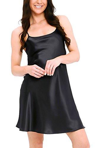 Del Rossa Women's Satin Nightgown, Long Camisole Chemise, Medium Black (A0766BLKMD)