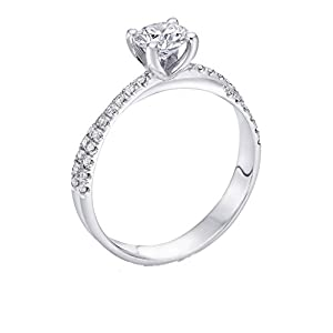 GIA Certified 14k white-gold Round Cut Diamond Engagement Ring (0.78 cttw, K Color, VS1 Clarity)