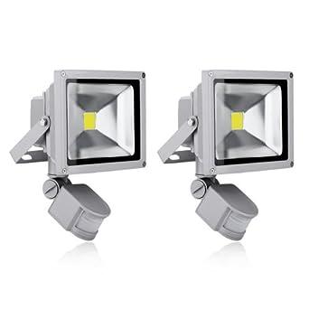 2x 20W LED Flutlicht Scheinwerfer Außenstrahler Fluter mit Bewegungsmelder IP65