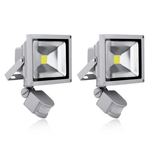 Rondaful-2er-Set-20W-LED-Fluter-Strahler-Bewegungsmelder-1700-1800Lm-Kaltwei-Spot-Auenstrahler-Lampe-IP65-wasserdicht-Objektbeleuchtung-Flutlichtohne-Stecker