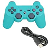 For Sony Playstation 3 Ps3 Bluetooth 6 Axis Wireless Controller Gamepad Joypad Dualshock with Charging Cable 11 Colors Available (Green)