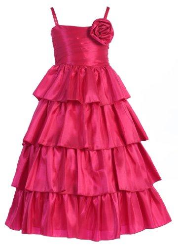 Wonder Girl Feist Big Girls' Taffeta Tea Length Tiered Dress 10 Fuchsia