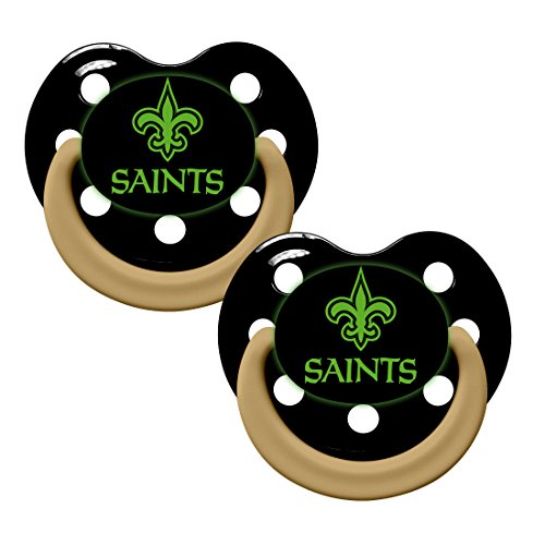 Baby Fanatic Pacifier - Glow In The Dark (2 Pack) - New Orleans Saints