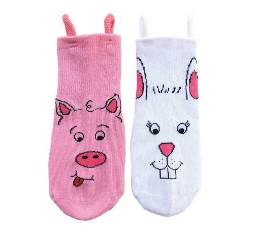 EZ SOX - Pig and Bunny Socks - Size 4-6 - 2 Pairs - 1 Pair of Each Design