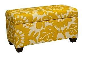 Skyline Furniture Walnut Hill Storage Bench in Gerber Sungold Fabric