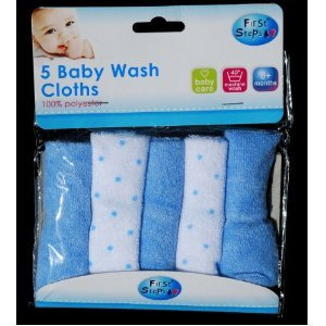 Pack of five Baby Wash cloths in blue
