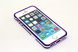 Yan's whole sale - (PURPLE) 2-Tone Rubberized Twistable and Bendable Candy Color See-Thru Kickstand Back Case Easy Horizontal Viewing For Apple iPhone 5S / 5 Unique Apple Signature Logo Opening Circle TPU Jelly Flexible Stan