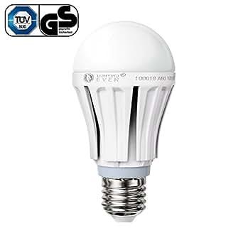 Lighting EVER® Ampoule LED de Type A60 de 10W, Samsung LED, plus Brillante, Remplace les Ampoules à Incandescence de 60Ws, E27 à Vis Moyen, Blanc Chaud