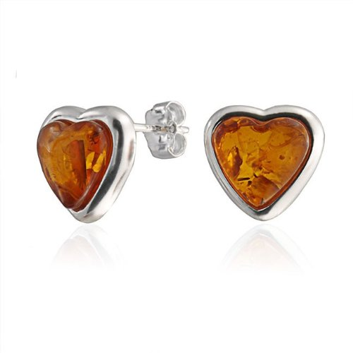 Bling Jewelry Bezel Set Gemstone 925 Sterling Silver Amber Heart Stud Earrings