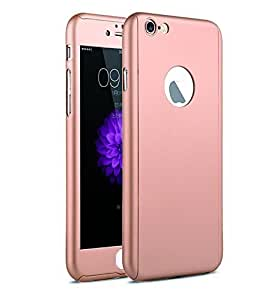 SEDOKA iPaky 360 Protective Body Case with Tempered Glass for Apple iPhone 6 6S - Rose Gold With Free Key Ring