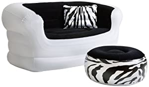 Pure Comfort 8513LS Inflatable Zebra Love Seat and Ottoman