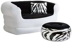 Pure Comfort 8513LS Inflatable Zebra Love Seat and Ottoman