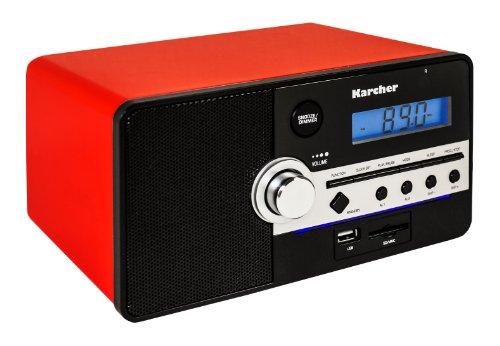 Karcher RA 2250 Retro-Radio (UKW/MW-Tuner, SD-Kartenleser, AUX-IN, Weckfunktion, Dual-Alarm, USB) rot