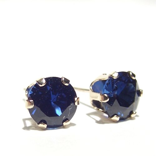 Men's 9 Carat yellow gold Created AAA Sapphire crystal stud earrings.Gift box. Beautiful jewellery for very special people.
