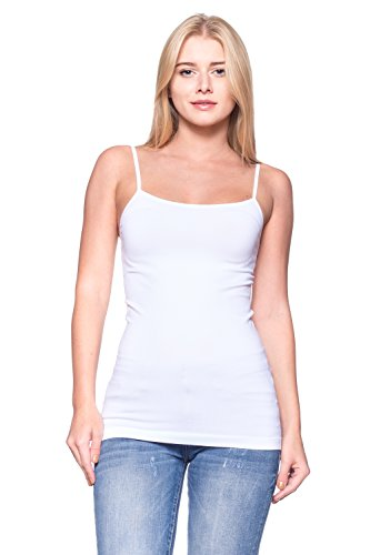 Women Junior-WHITE-Basic Simple and Essential Tank Top / Adjustable Camisole Active Cami w OSSAMI