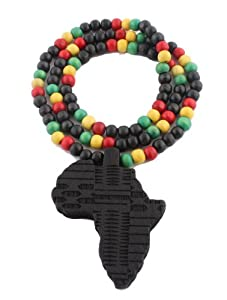 2 Pieces of Black Wooden Africa Pendant with Multi Colored 28 Inch Beaded Necklace Chain